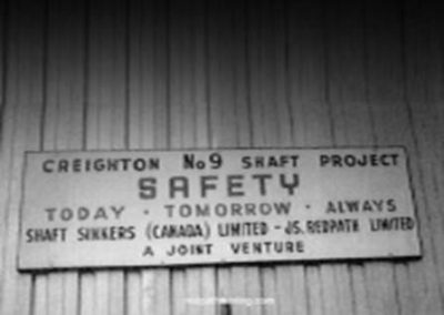 Creighton Number 9 Shaft Project sign.