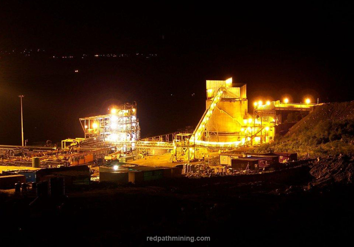 View of a mine site in Africa at night.