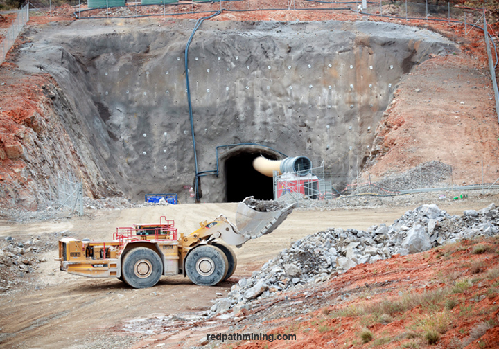 Equipment outside of a mine site's portal.