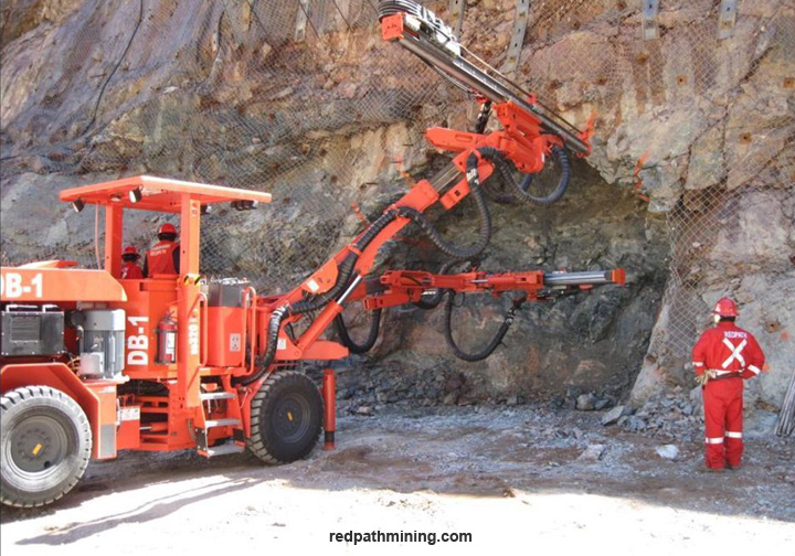 Redpath employees operate equipment outside on a mine site in South America.