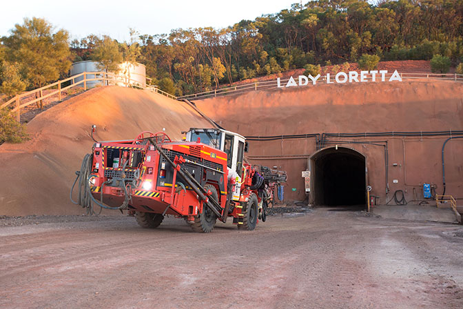 A jumbo heads into the portal at Lady Loretta in Queensland, Australia.