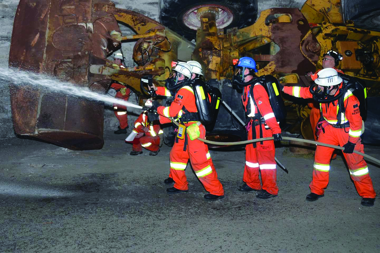 A group of Redpath employees participate in a Mine Rescue training program in Ontario, Canada.