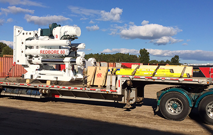 The Redbore 80 in transport on a truck.