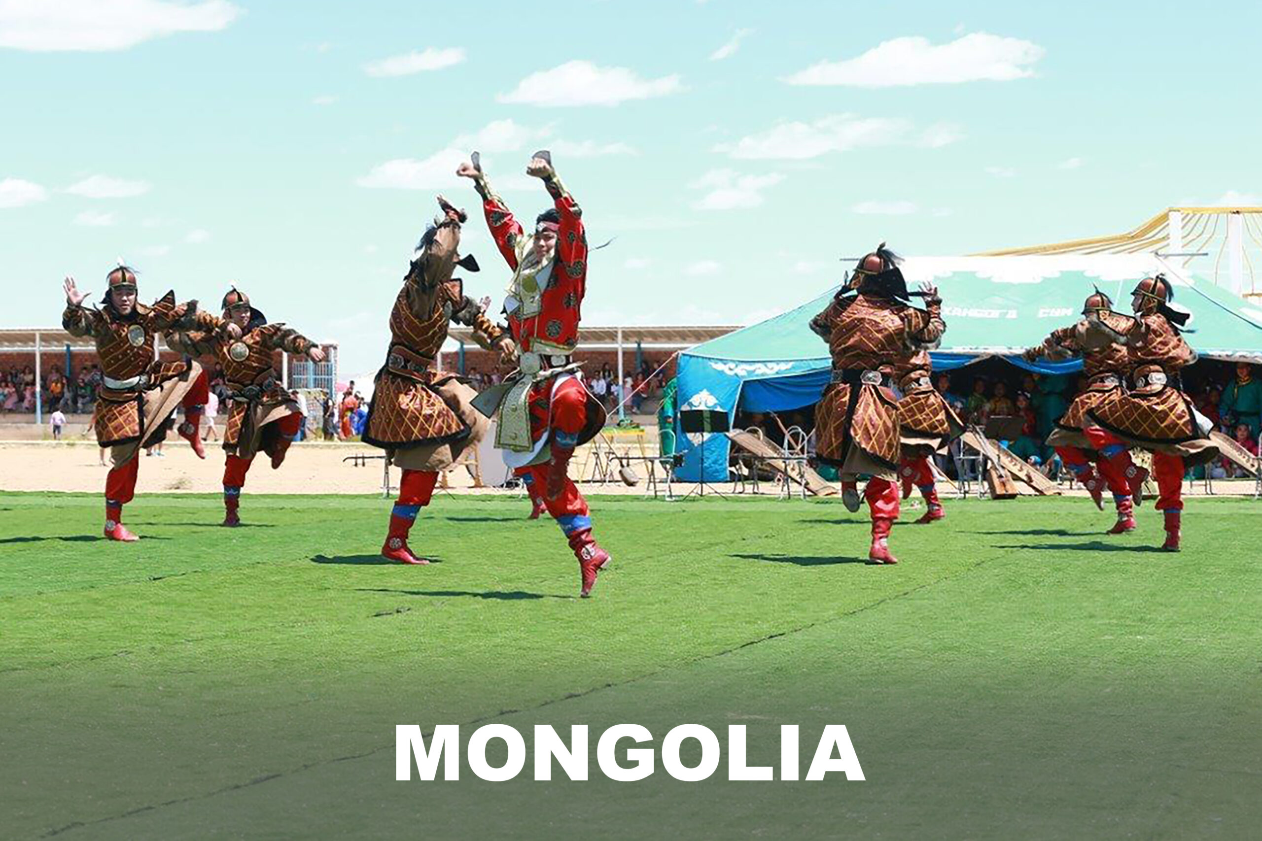 A group of Mongolia people are dancing